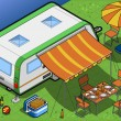 Royalty-Free Stock Imagen vectorial: Isometric Roulotte in Camping in rear view