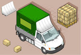 Isometric van with tarpaulin in front view — ストックベクタ