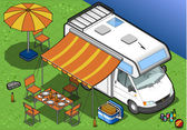 Isometric camper in camping in front view — Stock Vector
