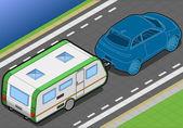Izometrické roulotte a auto v zadní pohled — Stock vektor