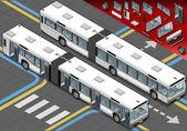 Ver isométrico autobús largo en el frente con las puertas abiertas — Vector de stock