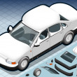 Isometric Snow Capped White Car in Front View — Vector de stock #26549525