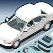 ストックベクタ: Isometric Snow Capped White Car in Front View