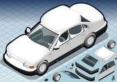 等尺性の雪を頂いた正面に白い車 — ストックベクタ