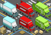 Isometric Delivery Trucks in Front View — Stock Vector