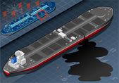 Isometric Ship Tanker Leaky Oil in Rear View — Stock Vector