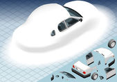 Isometric Snow Capped White Car in Rear View — Stock Vector
