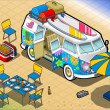 Isometric Rainbow Van in Camping in Front View — Stock Vector