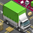 Isometric Pick Up Truck with Tarpaulin in Front View — Imagens vectoriais em stock