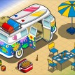Isometric Rainbow Van in Camping in Rear View — Stock Vector