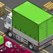 Isometric Pick Up Truck with Tarpaulin in Rear View — Imagen vectorial