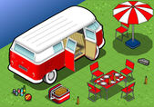 Isometric Camping Van in Rear View — Stockvektor