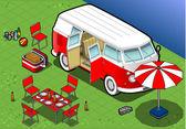 Isometric Camping Van in Front View — Stock Vector