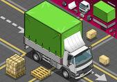 Isometrisk plocka upp lastbil med presenning framför visa — Stockvektor