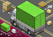Isometric Pick Up Truck with Tarpaulin in Rear View — Cтоковый вектор