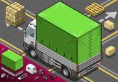 Isométrico recoger camión con lona en espejo retrovisor — Vector de stock