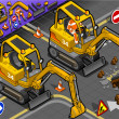 Stock Photo: Isometric Mini Excavator with Man at Work in Front View