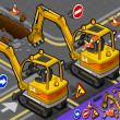 Stock Photo: Isometric Mini Excavator with Man at Work in Rear View
