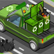 Isometric Garbage Pick Up in Rear View — Stock Photo