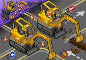 Isometric Mini Excavator with Man at Work in Front View — Stock Photo