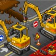 Stock Photo: Isometric Mini Chisel Excavator in Rear View