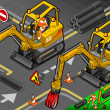 Stock Photo: Isometric Mini Mechanical Arm Excavator in Front View