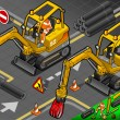 Isometric Mini Mechanical Arm Excavator in Front View — Stock Photo