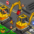 Stock Photo: Isometric Mini Mechanical Arm Excavator in Rear View