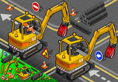 Isometric Mini Mechanical Arm Excavator in Rear View — Stock Photo