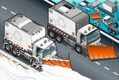 Isometric Snow Plow Truck in Front View — Stock Photo