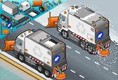 Isometrische sneeuw ploegen vrachtwagen in achteraanzicht — Stockfoto