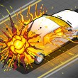 Isometric White Car in Explosion in Rear view — Stock Photo