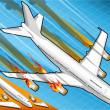 Isometric airplane falling down with engines on fire — Стоковая фотография