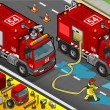 Vector de stock : Isometric Firefighter Tank Truck in Front View