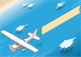 Ver plano isométrico blanco en vuelo con aérea bandera en el frente — Vector de stock