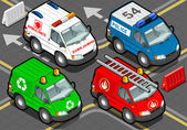 Isometric Trucks firefighters, police, ambulance, garbage collector in front view — Stock Vector