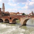 Ponte Pietra on the Adige River, Verona, Italy, Europe — Stock Video