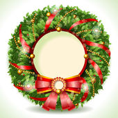 Wreath Christmas with Red Ribbon — Stock Vector