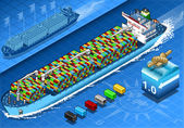 Isometric Cargo Ship with Containers in Navigation in Front View — Vector de stock
