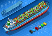 Isometric Cargo Ship with Containers Isolated in Rear View — Stock Vector