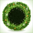Wreath Christmas with Black Placeholder — Stock Vector