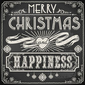 Vintage Merry Christmas Text on a Blackboard — Stock Vector