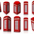 Set of English Red Telephone Cabin — Stock Vector