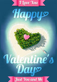 Happy Valentine's Day Tropical Island — Stock Vector