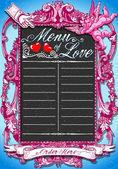 Le tableau rose noir vintage pour menu s Saint-Valentin — Vecteur