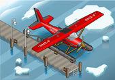 Isometric Artic Hydroplane at Pier — Stok Vektör