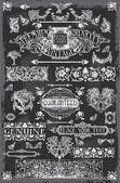 Vintage bord hand getrokken banners — Stockvector