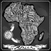 Africa Map on Vintage Handwriting BlackBoard — Stock Vector