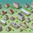 Set of Isometric European Buildings — Stock Vector