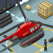 Vetorial Stock : Isometric Arctic Emergency Helicopter in Rear View